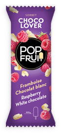 Raspberry / White chocolate ice cream ice pop PopFruit